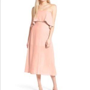 Charles Henry Strapless Popover Midi Dress XS